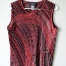 Sag Harbor M Medium Red Black Multi-Color Sleeveless Shirt 100% Polyester Tank