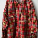 Handmade Zip Front Plaid Shirt Long Sleeve XL / XXL / 2XL