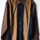 Hunter Legendary Whitetail Deer Gear Men's Long Sleeve Button Shirt Faux Suede L