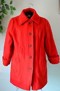 Vintage Penguin Women's Small 100% Wool Pea Coat Red Button Front