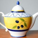 Hand Painted Tea Pot White w/ Yellow & Blue Made in Portugal