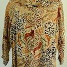 Brylane Woman Animal Print 20W Long Sleeve Button Blouse Shirt Rayon Tunic Top