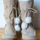 Air Walk Leather Moccasin Boots Faux Fur Lined Rubber Sole 7 & 1/2 Mid Calf