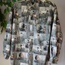 Field & Stream Long Sleeve Button Up Shirt Medium Cotton, Pheasants, Bird Dogs