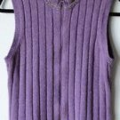 Woolrich Small Wool Blend Purple Sleeveless Sweater Zip Front Mock Neck