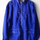 Woodlake Women's Men's Blue Windbreaker Jacket Zip Front, Pockets, Hidden Hood