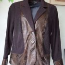 Elementz Small Women's Career Brown Button Front Jacket Faux Alligator
