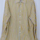 Gap Men's XXL Fitted Yellow Blue Stripe Long Sleeve Button Front Shirt