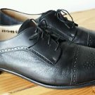 Pronto Uomo Firenze Black Leather Oxford Cap Toe Dress Shoe Made In Italy EUC