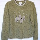 Christopher & Banks Embroidered Tree Crewneck Pullover Sweater Long Sleeve MED