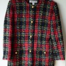 Valerie Stevens Wool Button Front Long Sleeved Jacket Red Green Plaid 10