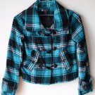 Passport Lined Pea Coat Teal Black Plaid Button Front Removable Hood Small