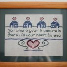 "Finished Handmade In USA Cross Stitch Picture Matted Framed 13""x16.25"" Matt 6:21"