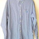 "Ralph Lauren Blue Label Button Up Long Sleeve Cotton Shirt Blue Plaid ""Blake"" Lg"