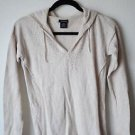 CALVIN KLEIN Womens S Cotton Sweater Top Hooded Beige Long Sleeve Pullover