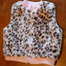 Starting Out, Girls 12 Month Faux Fur Animal Print Zip Front Vest, Silky Lining