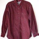 Eddie Bauer Maroon Long Sleeve Plaid Button Up Fine Corduroy Heavy Shirt M Med