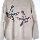 Men's Cape Isle Knitters Crewneck Pullover Sweater Brown w Ducks Design XL