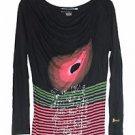 Desigual L Large Black Red Striped BullsEye Metallic Writing Top Blouse Viscose