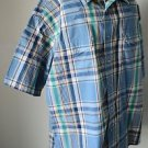 Wrangler L Large Blue Green Plaid Western Cowboy Short Sleeve Shirt Pearl Snaps