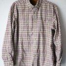 LL Bean Town & Field Mens Long Sleeve Button Front Shirt M Medium Brown Plaid
