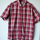 Old Navy Men's Button Front Short Sleeved Red Plaid Collared Shirt Large