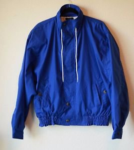 Vintage Men Lifes Adventures Dash Blue Windbreaker Jacket Coat Hood Medium USA