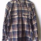 Field & Stream Brown & Blue Plaid Flannel Button Up 2 Pocket Shirt L Tall Cotton
