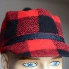 Vintage Red Plaid Scottish Hunting Hat w Brim & Pom Pom Quilted Lining Sz Small