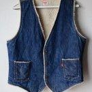 Vintage Levi's Sherpa Lined Blue Denim Snap Front Vest Large Made in USA