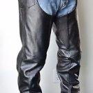 Xelement Biker Adjustable Motorcycle Black Leather Chaps Zipper Leg Lined EUC