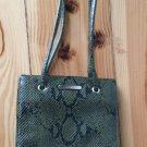 Nine West Dark Green Faux Snakeskin Shoulder Bag Purse