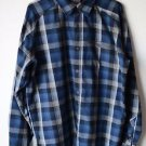Merrel Blue Gray Plaid Long Sleeved Button Up Shirt Large Opti Wick Polyester