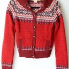Hollister Sportswear Red Wool Sweater Button Front With Hood & Pockets, Med - LG