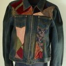 LE Jeans Rene Derhy Women's L Large Denim Jean Jacket Unique Embellished Zip Up