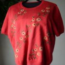 ALFRED DUNNER Knit TOP SWEATER Floral Embroidery w Beads Short Sleeve Large EUC