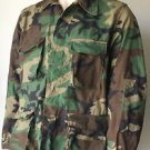 BDU Military Top Shirt Camouflage Button Up Long Sleeved Pockets Green LG Long