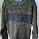 VTG Fluid International Crewneck L Large Green & Brown Mens Sweater Made in USA