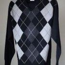 Bullock & Jones Men's V Neck Sweater Argyle Lambs Wool Scotland M - S Med Small