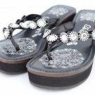 Skechers Cali Black Wedge Flip Flop Sandal Rhinestone Flowers Med Heel 7