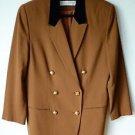 Valerie Stevens Lined Wool Double Breasted Blazer Dress Coat 12 Brown