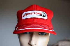 Armstrong Rhino Red & White Mesh Snap Back Hat Made in Shawnee Mission, KS USA