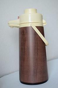 Vintage Air Pump Pot Thermos Brown Plastic Wood Grain 2.5 Liter Beverage