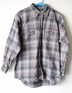 Field & Stream Mens Button Up Gray Plaid Heavy Flannel Grunge Work Shirt Large