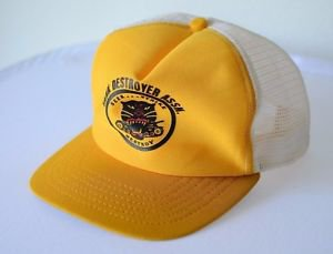 New Era VTG Yellow Adjust Snap Back Mesh Trucker Hat Tank Destroyer Baseball Cap