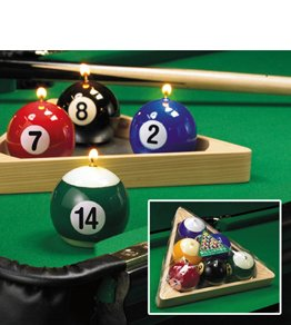 6-pc Pool Balls in Rack Tray Specialty Candle Set by Lava Enterprises