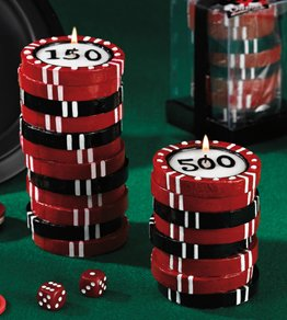 Small Stacked Poker Chips Pillar Specialty Candle by Lava Enterprises Candles