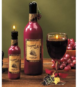 Large Sculpted Wine Bottle Candle