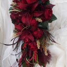 Silk Flower Wedding Brfidal Bouquet Set Red Casablanca Lilies 17 pc