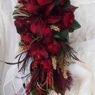 Silk Flower Wedding Brfidal Bouquet Set Red Casablanca Lilies 17 pc